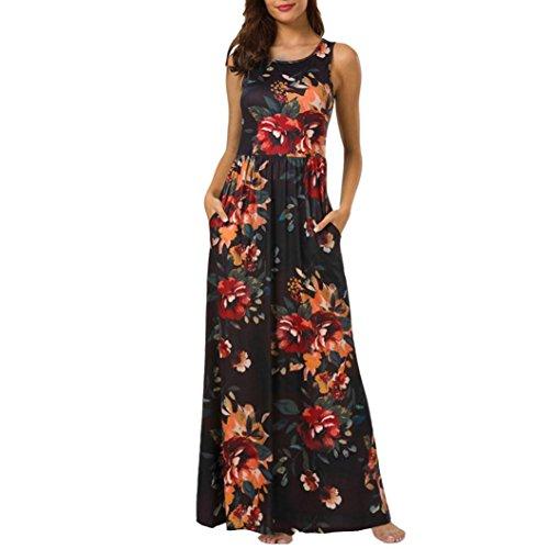 Damen Lange Kleider,Kanpola Maxikleider Blumenkleid Blumedrucken Rundhals High Waist Blume Kleid...