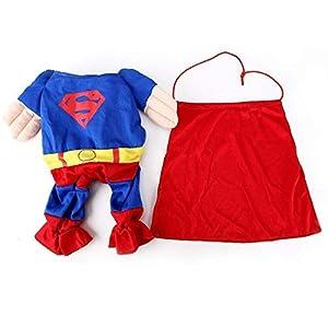 EQLEF Superman pour Chien Chat Chiot Halloween Costume Vêtements pour Animaux Apparel Superchien Dress Up