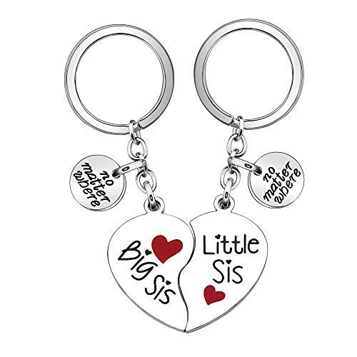 Sisters Gift,2Pcs Big Sis Little Sis Keychain Keyring Key Chain Ring for Women Lady Girl Gift