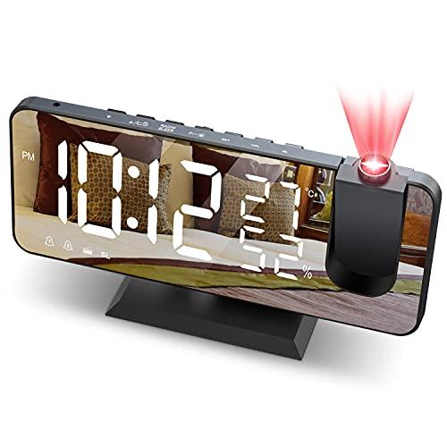 JIGA Reveil Projecteur Plafond Radio FM Reveil Projection 180° Horloge Numérique avec 7 LED Écran Miroir Chargement USB Port Fonction Snooze Double Alarme Horloge Digitale pour Chambre,Cuisine,Bureau