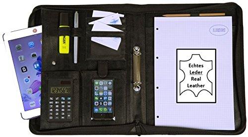 K.DESIGNS® Leder Schreibmappe DIN A4 schwarz | Konferenzmappe | Dokumentenmappe mit Reißverschluss + Taschenrechner + Ringbuch | Organizer | Aktenmappe