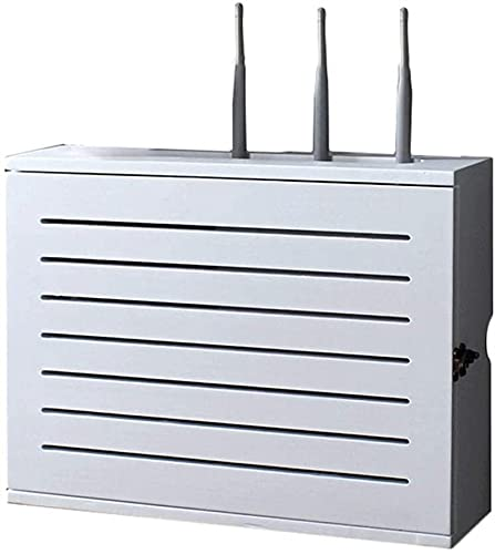 Blanco inalámbrico enrutador almacenamiento estante montado en la pared wifi router caja de almacenamiento zócalo blindaje alambre acabado caja de alambre flotante estante módem wifi enrutador estante