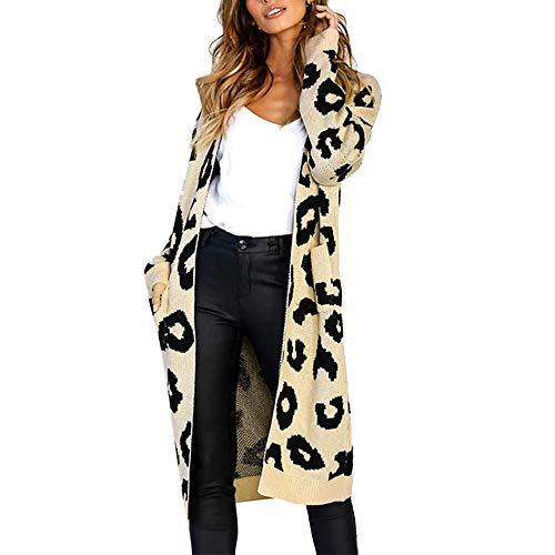 MRULIC MRULIC Lange Strickjacke Damen Pullover Herbst Warmer Mantel schöne Outwear Outdoorjacke(Khaki,M)