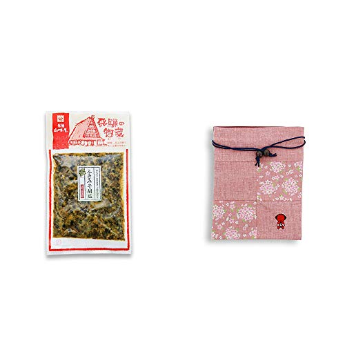[2点セット] 飛騨山味屋 ふきみそ胡瓜(120g) ・おねがいさるぼぼ 巾着【ピンク】