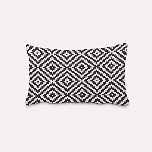 Bella vita federa per cuscino per esterni, retro a rombi, colore bianco e nero, diverse misure, dimensioni federa 30 x 50 cm (altezza x larghezza).