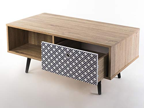 Decorated wooden coffee table with drawer for storage and magazine rack for the living room, a reading nook, relaxation area