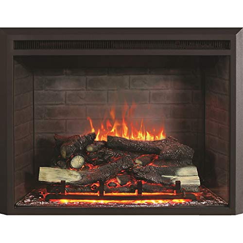 RICHFLAME 30 Inches, 23 Inches High, Gavin Electric Fireplace Insert with Simulation Brick Interior, Fire Crackling Sound, Remote Control, 750/1500W, Black