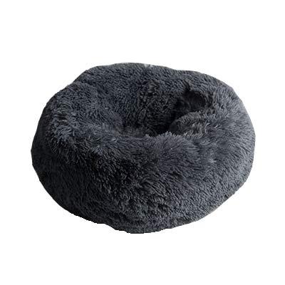 Supermjuk husdjurshund Hund rund Katt Vinter varm sovsäck lång plysch valp kuddmatta bärbara kattmaterial 46/50 / 60cm 60cm grå