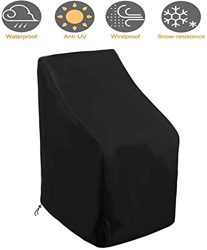 Cubre Objeto Protección Muebles de Jardín de jardín sofá Protector de Muebles de Patio Impermeable, Resistente al viento, Anti Ufor Silla anSofá 210OxforFabric Negro, 120x66x73x86cm
