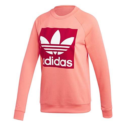 adidas Originals Women's Trefoil Crewneck Sweatshirt, flash red, Medium