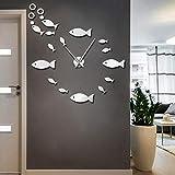 Biubiubiubiu Fish DIY Reloj De Pared Grande Banco De Peces Reloj De Pared Gigante Sin Marco 3D Etiqueta De La Pared del Espejo Grande Reloj De Diseño Moderno GZ-3028