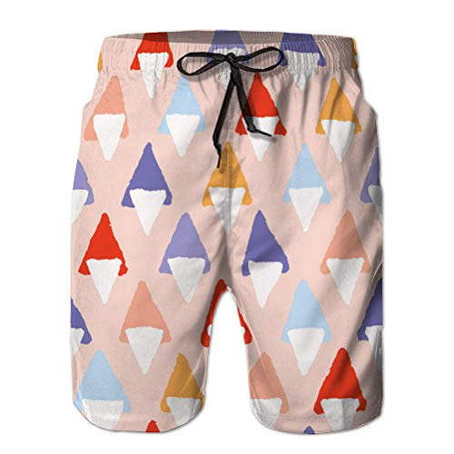 Yuerb Summer Men 's Casual Shorts de Playa atléticos Dibujados a Mano en Negrita Formas Triangulares