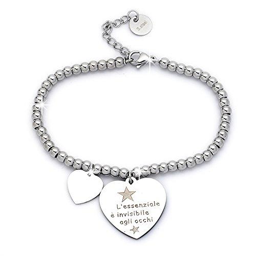 Beloved Braccialetto da donna, bracciale in acciaio emozionale - frasi, pensieri, parole con charms - ciondolo pendente - misura regolabile - incisione - argento (MOD 4)
