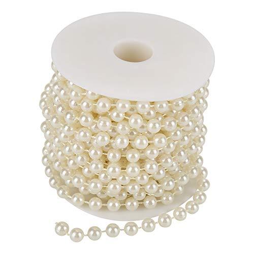 Perline Filo di Perle, 32,8 Piedi 8 mm Perline Filo di Perle di macinazione Rotolo di Perle di Perle Rosa Centrotavola per Matrimoni Fai-da-Te Decor[Beige]