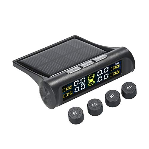 Fesjoy Sistema de monitoreo de presion en Llantas, TPMS Sistema de monitoreo de presión de neumáticos Sistema de Alarma de Coche inalámbrico de energía Solar Pantalla LCD con 4 sensores internos