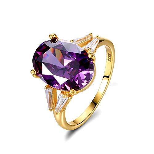 IWINO 925 sterling zilveren ringen voor dames Solitaire Big Created Oval Amethyst Purple Trouwringen Fijne sieraden Valentijnsdagcadeau