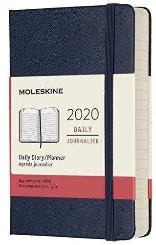 (modello precedente) - Moleskine 12 Mesi, anno 2020 Agenda Giornaliera, Copertina Rigida e Chiusura ad Elastico, Colore Blu Zaffiro, Dimensione Pocket 9 x 14 cm, 400 Pagine