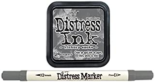 Tim Holtz Ranger Distress 2015 Color of the Month Ink Pad and Marker Bundle - 2 Items (June - Hickory Smoke)
