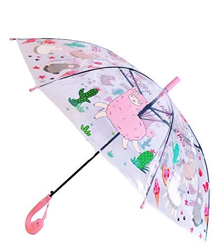 G4G Paraguas Infantil Transparente, Anti Viento, con Dibujos de Animales (Dinosaurios y Alpacas), con Medidas de 47cm. (Rosa)