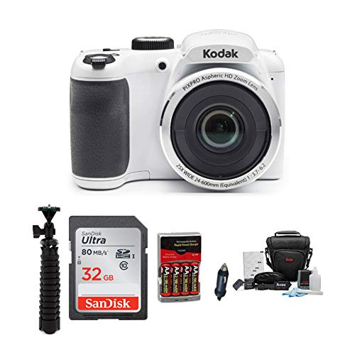 Kodak PIXPRO AZ252 Digital Camera (White) with 32GB SD Card, Tripod, Battery and Accessory Bundle (5 Items)