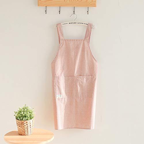 YXDZ Delantal Versión Coreana Femenina De La Cocina Hogar Moda Adultos Monos Cintura Europea Impermeable Y A Prueba De Aceite Cocina Lindo Vestido Rosa