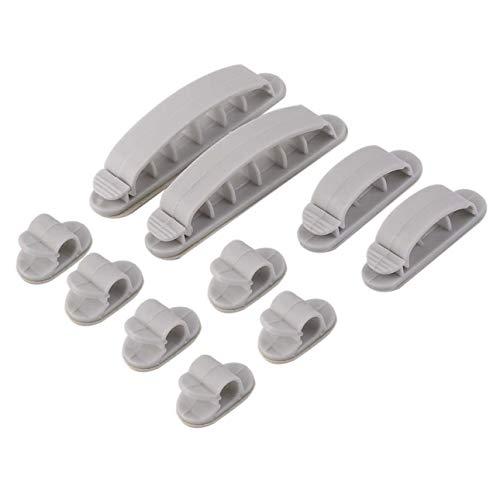 Ba30DEllylelly 10 Piezas de Alambre de plástico Gris Clip Fijo Autoadhesivo Cable de Mesa enrollador de Alambre Clips de Envoltura Clips Transparentes Abrazaderas