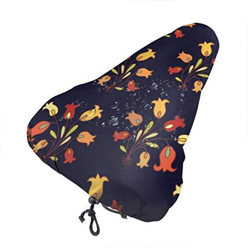 Fundas de asiento de bicicleta para hombre Beautiful Bell Flower Sport Funda de asiento de bicicleta Fundas de asiento impermeables con cordón, resistentes a la lluvia y al polvo para la mayoría de