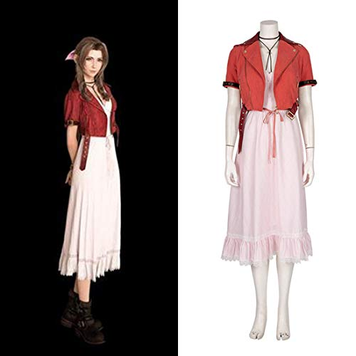 Macium Final Fantasy VII Aerith Cosplay Kostüm Rosa Kleid, Final Fantasy 7 Remake Cosplay - XL