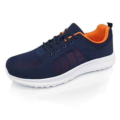 [Smart Traveler] スニーカー メンズ 運動靴 メッシュ 通気 軽量 軽い ウォーキング ランニング スポーツ ジム 紺 ( 26.0, ネイビー )