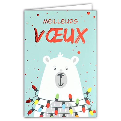Kaart beste wensen beer wit polarfleece Scandinavisch Noordse slingers, heldere lampen, kleuren rood glanzend