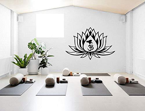 Etiqueta de la pared de la flor de loto calcomanías de pared de diseño creativo para la sala de estar dormitorio decoración de fondo calcomanía adhesiva Yoga A3 85x57cm