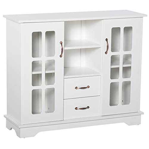 HOMCOM Modern Sideboard Storage Console Cabinet with Glass Door and Drawer for Kitchen, Living & Dining Room, White