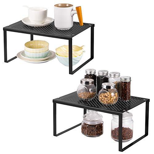HAITRAL Regaleinsatz im Küchenschrank,Erweiterbarer stapelbarer Organizer im Schrank Arbeitsplatten Stauraum Lösung für Gewürze, Gläser, Kräuter