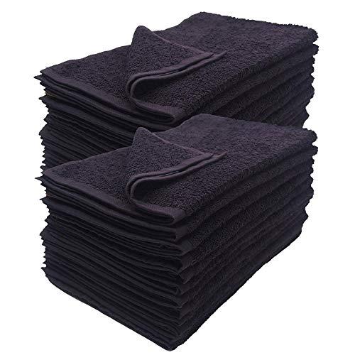 N / A 6pcs Toalla de Mano Negra100% algodón Turco50x90cm salón de Belleza y peluqueríaToalla de salón de Pelo-Black_50x90cm_6pcs