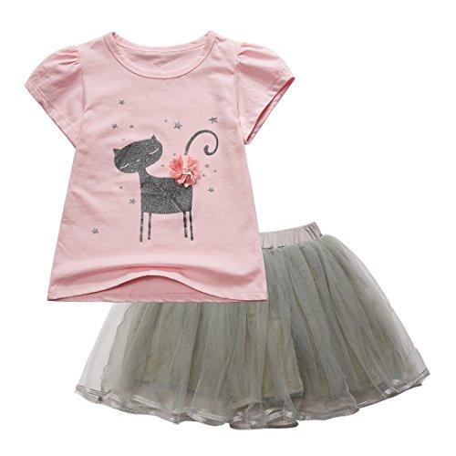 Sooxiwood Little Girls Skirt Set Cartoon Cat Flower Size 6 Pink