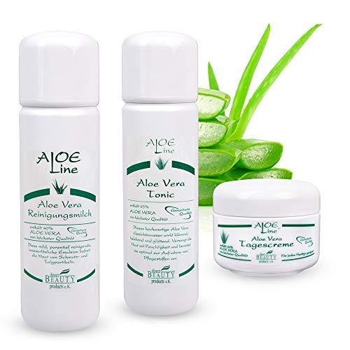 Aloe Vera Pflege Set - Aloe Vera Reinigungsmilch (1 x 200 ml) + Aloe Vera Gesichtswasser (1 x 200 ml) + Aloe Vera Tagescreme (1 x 50 ml) - Made in Germany