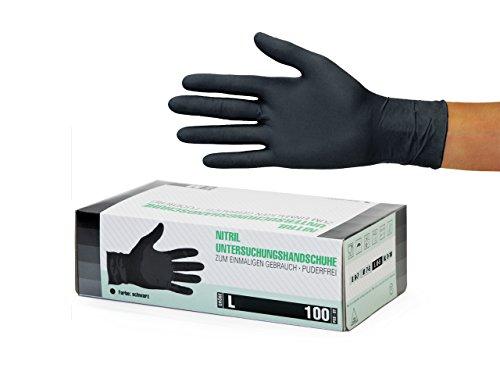 Nitrilhandschuhe 100 Stück Box (L, Schwarz) Einweghandschuhe, Einmalhandschuhe, Untersuchungshandschuhe, Nitril Handschuhe, puderfrei, ohne Latex, unsteril, latexfrei, disposible gloves, black