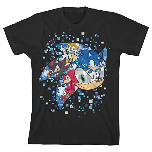 Bioworld Sonic The Hedgehog Pixelated Youth Boys Short-Sleeve T-Shirt-Medium Black