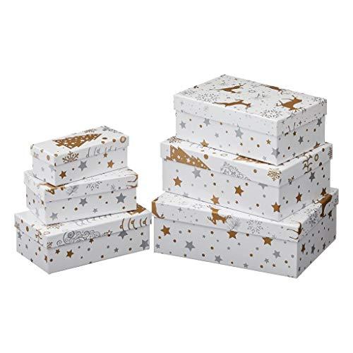 Cepewa 6tlg. Geschenkboxen Set Weihnachten Gold, Silber - Kartonagen - Geschenkkarton -Geschenkschachtel