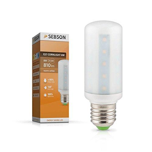SEBSON LED Lampe E27 warmweiß 8W, ersetzt 60W Glühlampe, 810 Lumen, E27 LED SMD, LED Leuchtmittel 160°