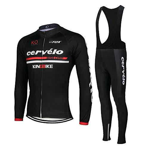Men's Cycling Jersey Set Bike Jersey Bicycle Winter Thermal Fleece Long Sleeve Suit C4 (Z, XXL)