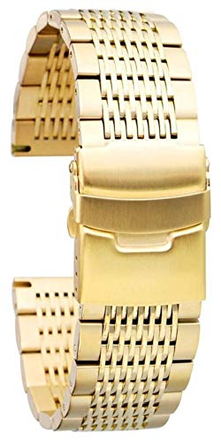 ZJSXIA Black Watch Pulsera Reloj de Hombre Correa Correa 22 mm 20 mm 18 mm 24mm Correa de Acero Inoxidable de 24 mm Lujo Reloj de Lujo Correa de Reloj Correas de Reloj (Color : 22mm, Size : Golden)