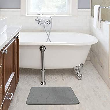 Memory Foam Coral Fleece Non Slip Bathroom Mat, Thick Durable Bath Rugs 17W X 24L inches (Gray Waved Pattern)