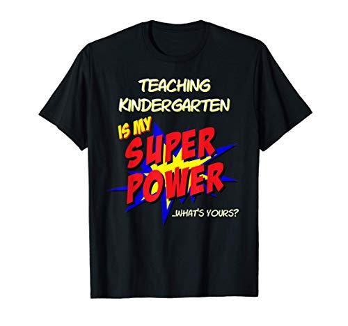 Kindergarten School Teacher Superhero Superpower Crayon T-Shirt