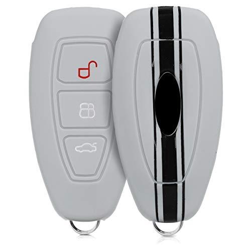 kwmobile Autoschlüssel Hülle kompatibel mit Ford 3-Tasten Autoschlüssel Keyless Go - Silikon Schutzhülle Schlüsselhülle Cover Rallystreifen Sidelines Schwarz Grau