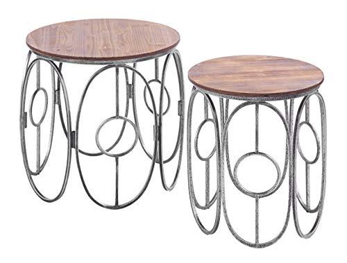 ts-ideen 2-delige set zitkrukken metaal hout zitvlak rond Schemel bijzettafels