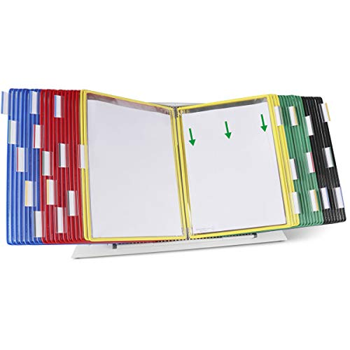 TARIFOLD Desktop Reference System 40 Double-Sided Display Pockets Letter-Size Assorted Colors 80 Sheet Capacity D294