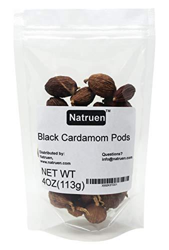 Natruen Black Cardamom Pods Whole(Tsao Ko) 4 Ounces, Approx 35 Pods, Cao Guo, All Natural Non-GMO Spice(Package May Vary)