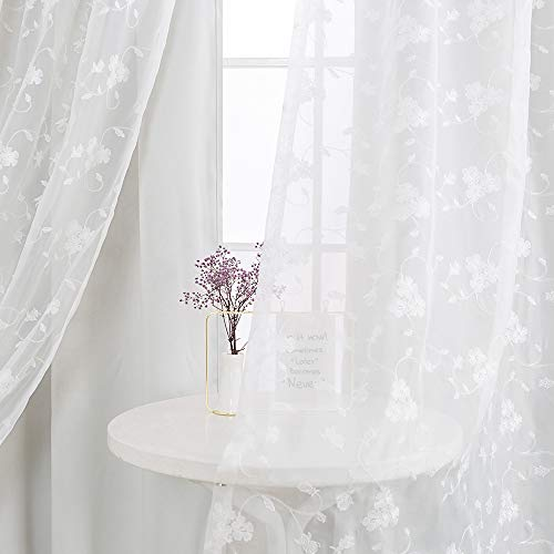 Vangao White Curtains Double Layers Room Darkening Curtains for Living Room 63 inch Reversible Ring Overlap Drapes with Embroidered White Sheer for Girls Room Grommet Top 2 Panels