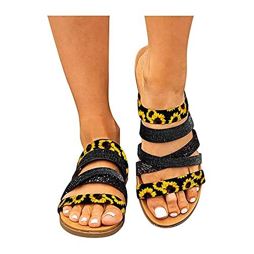 Orgrul Sandalias Mujer Verano 2021, Chanclas Mujer Verano, Planas Sandalias Mujer Plana Bohemio Espiga Diamante De Imitación Playa Clip Toe Pisos Cómodo Casual Zapatos 18F8 (36, J)